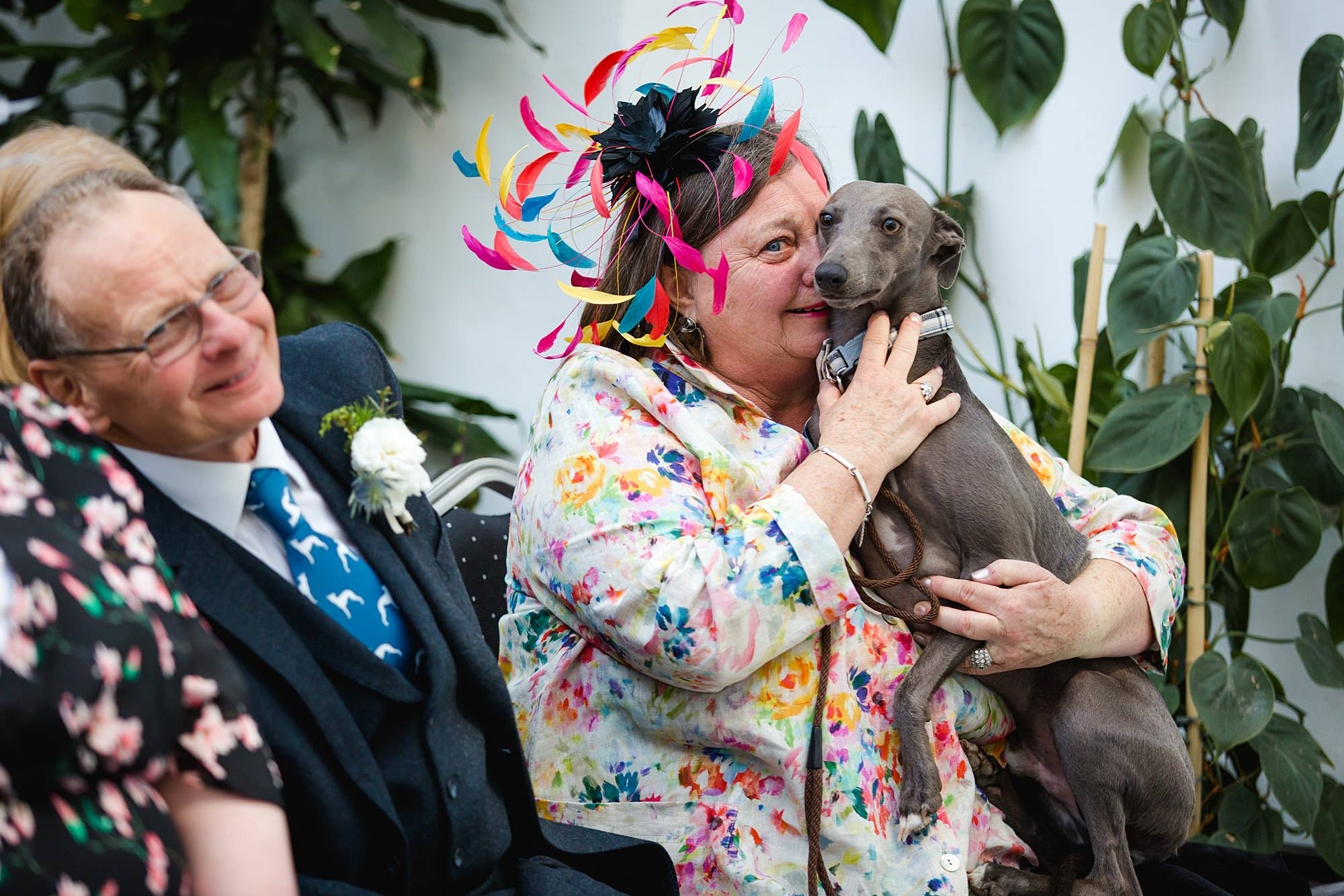 guest cuddles dog during wedding ceremony in york house