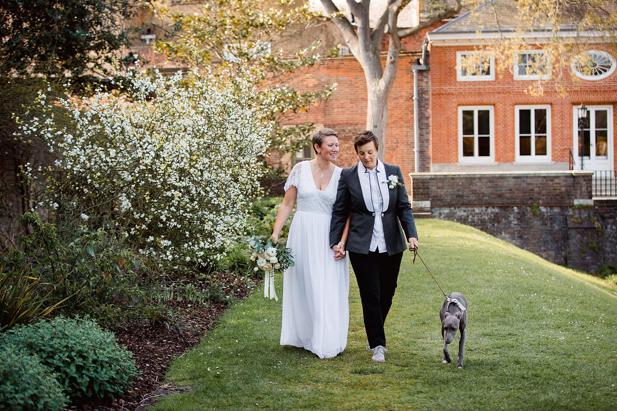 Twickenham wedding photography brides walk third dog through york house gardens