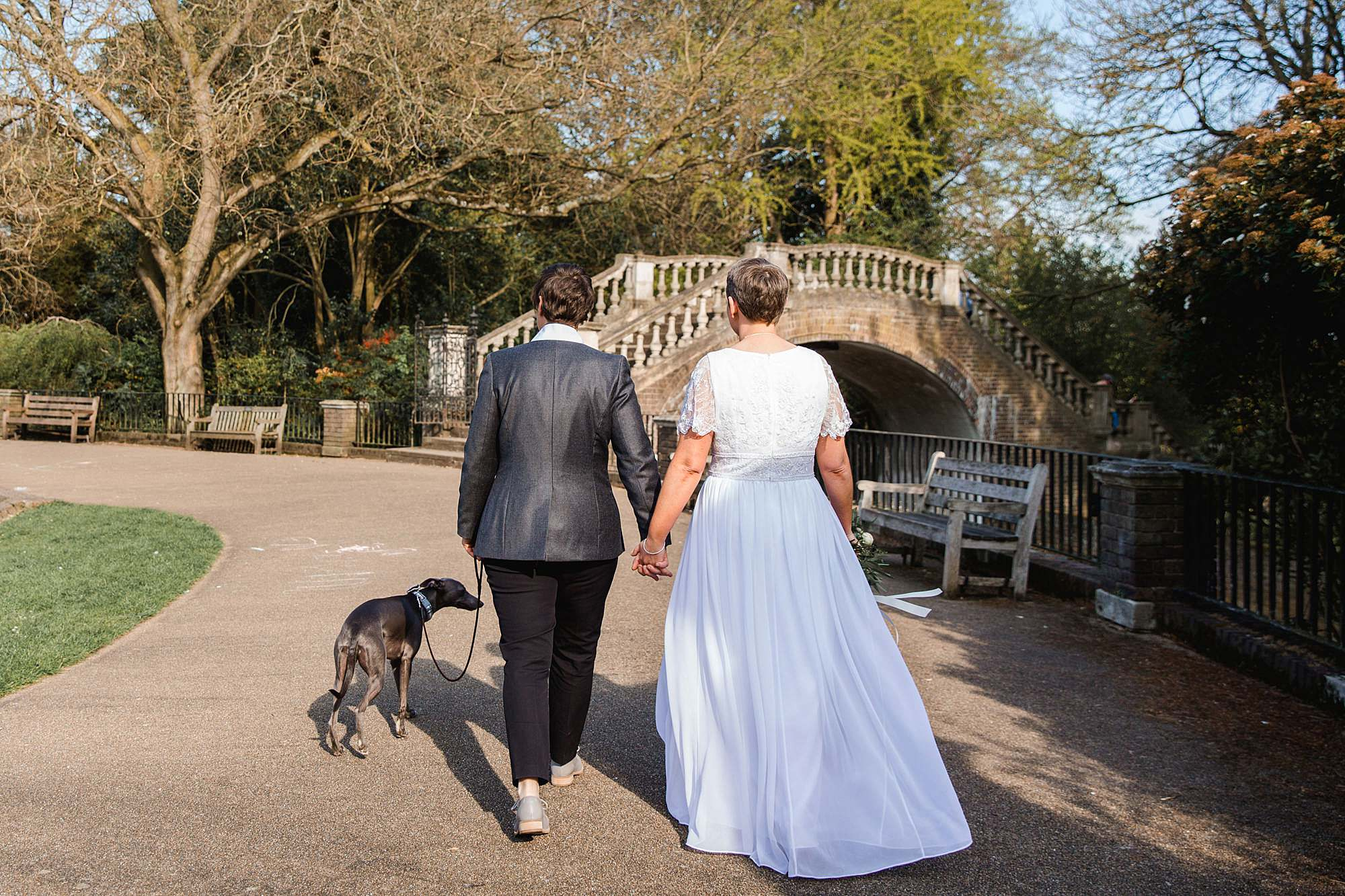 Twickenham wedding photography brides walking through york house grounds