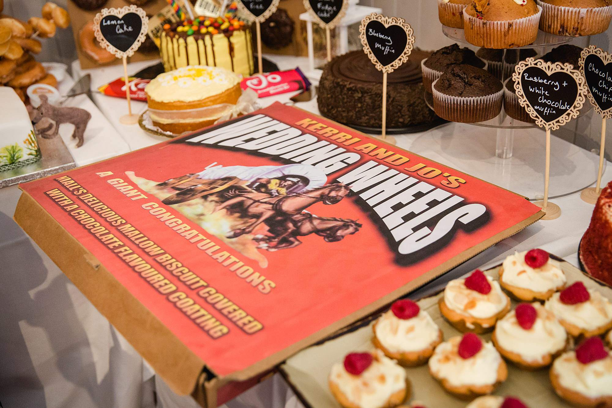 Twickenham wedding photography giant home made wagon wheel