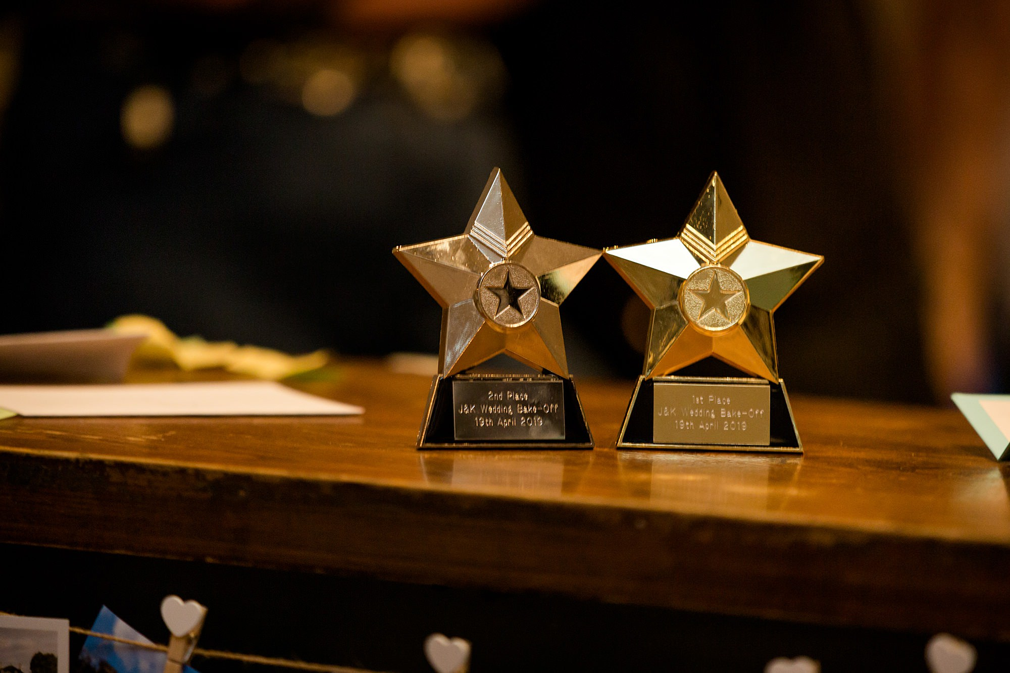 wedding bake off trophies at twickenham pub wedding
