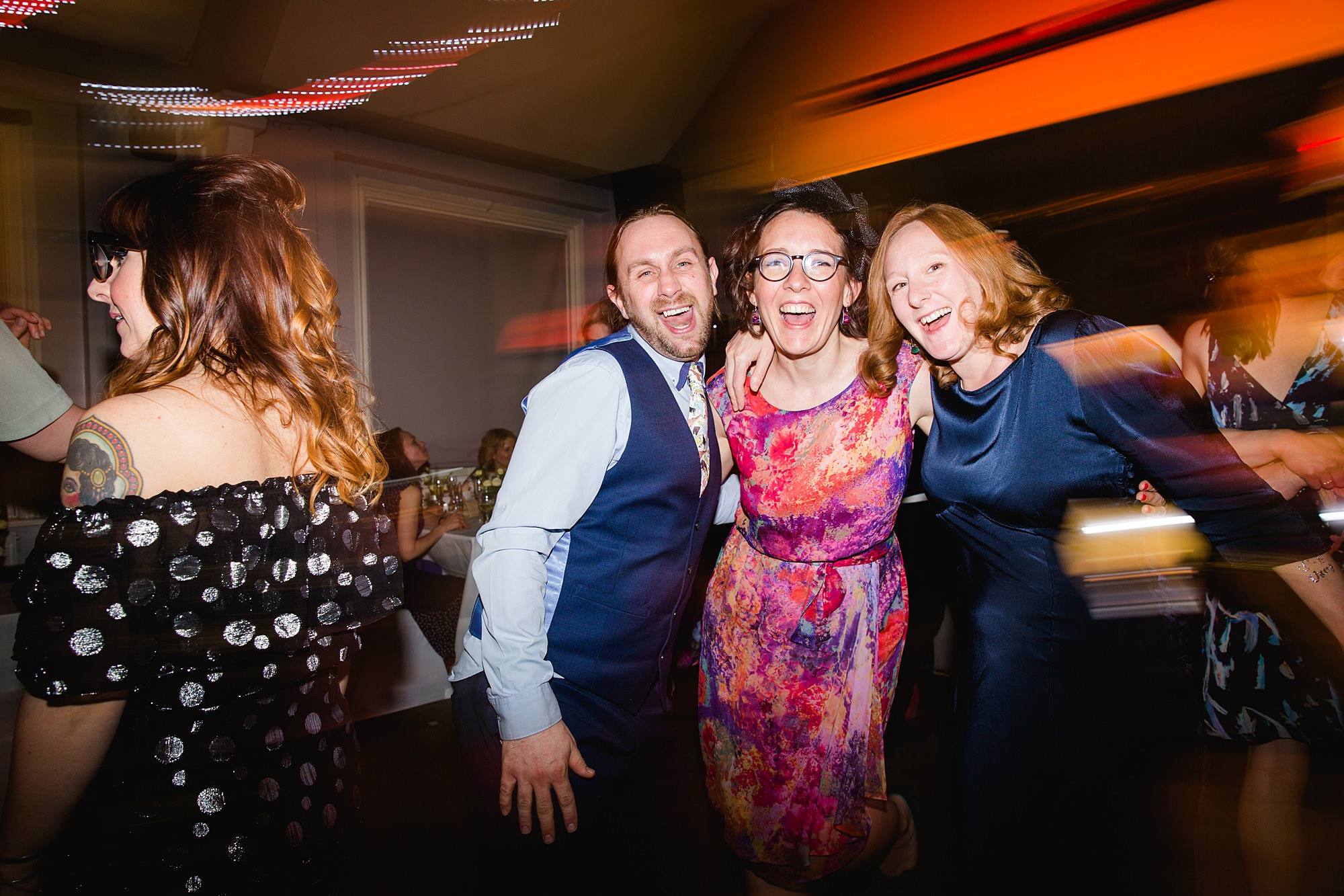 guests on the dance floor at turks head pub wedding