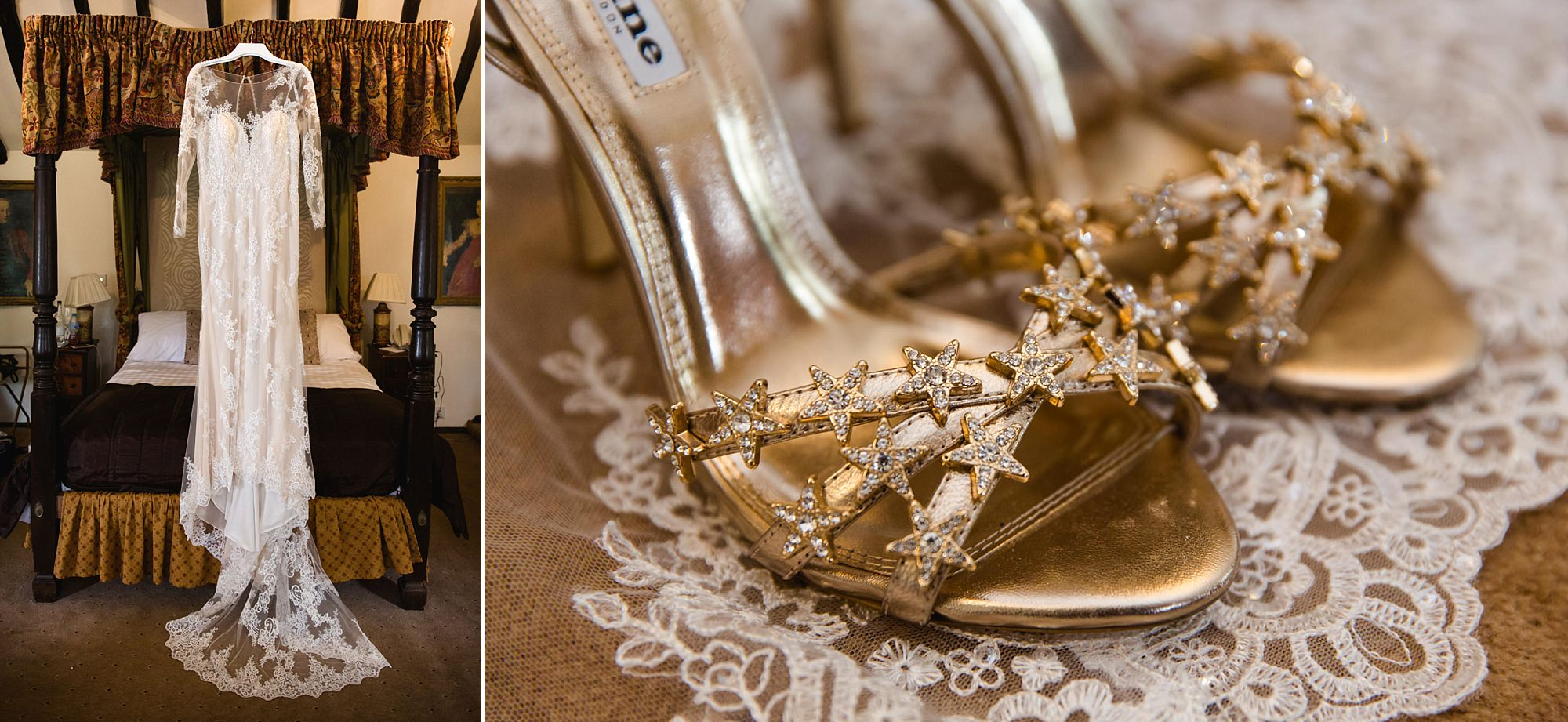 wedding dress and star detailed shoes for humanist bride