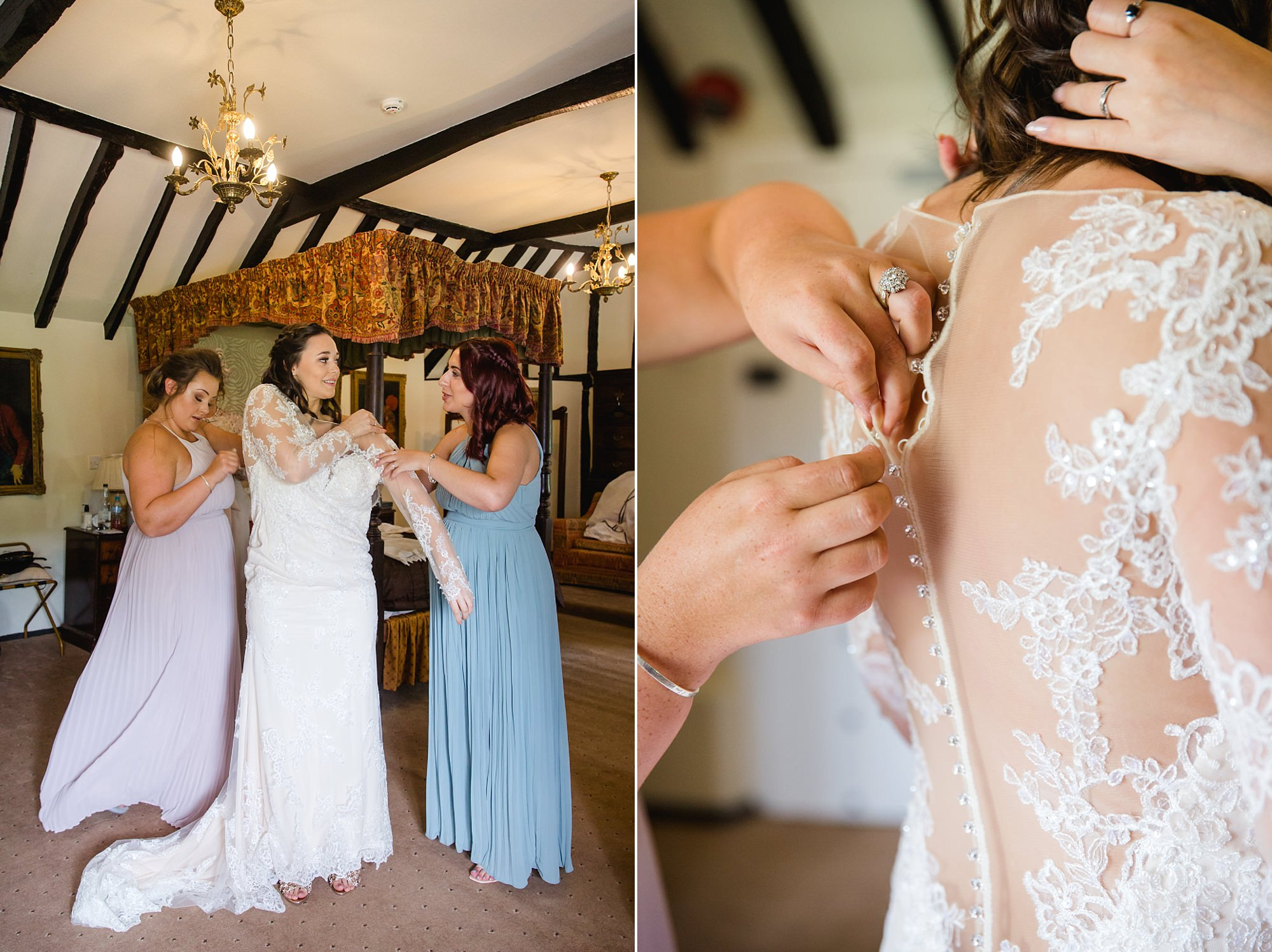 bridesmaids helping bride into dress for humanist wedding