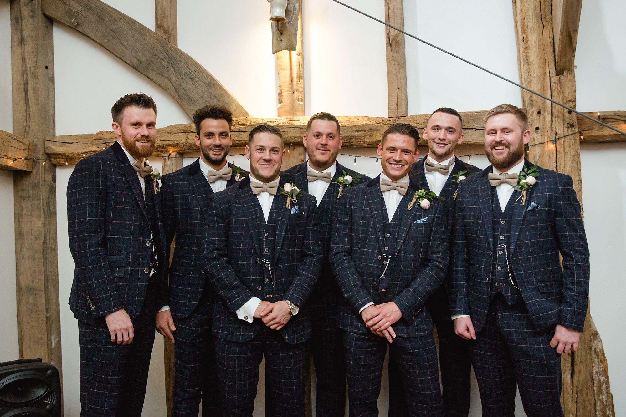 groom and groomsmen ahead of humanist wedding old greens barn