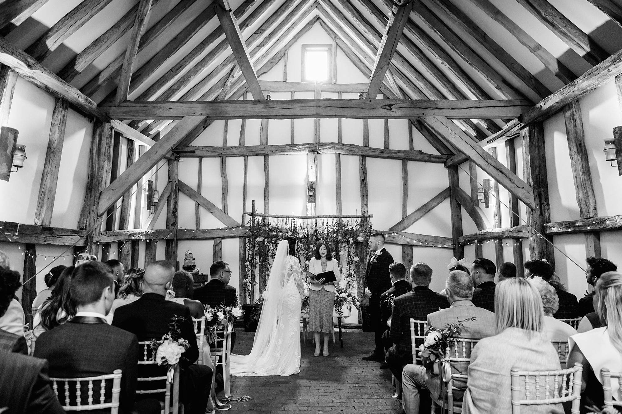 humanist wedding old greens barn bride and groom in humanist ceremony