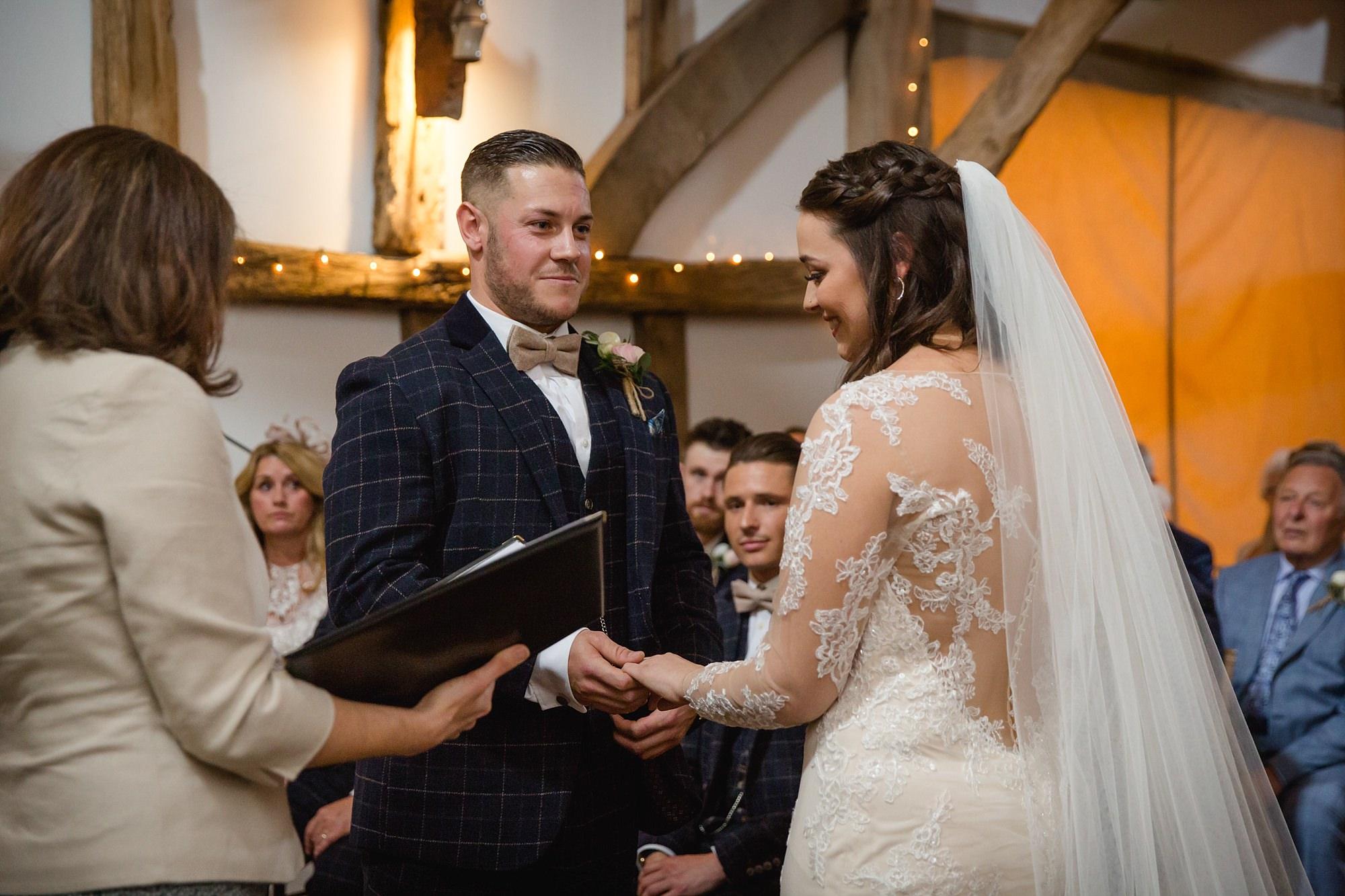 humanist wedding old greens barn bride and groom exchange rings