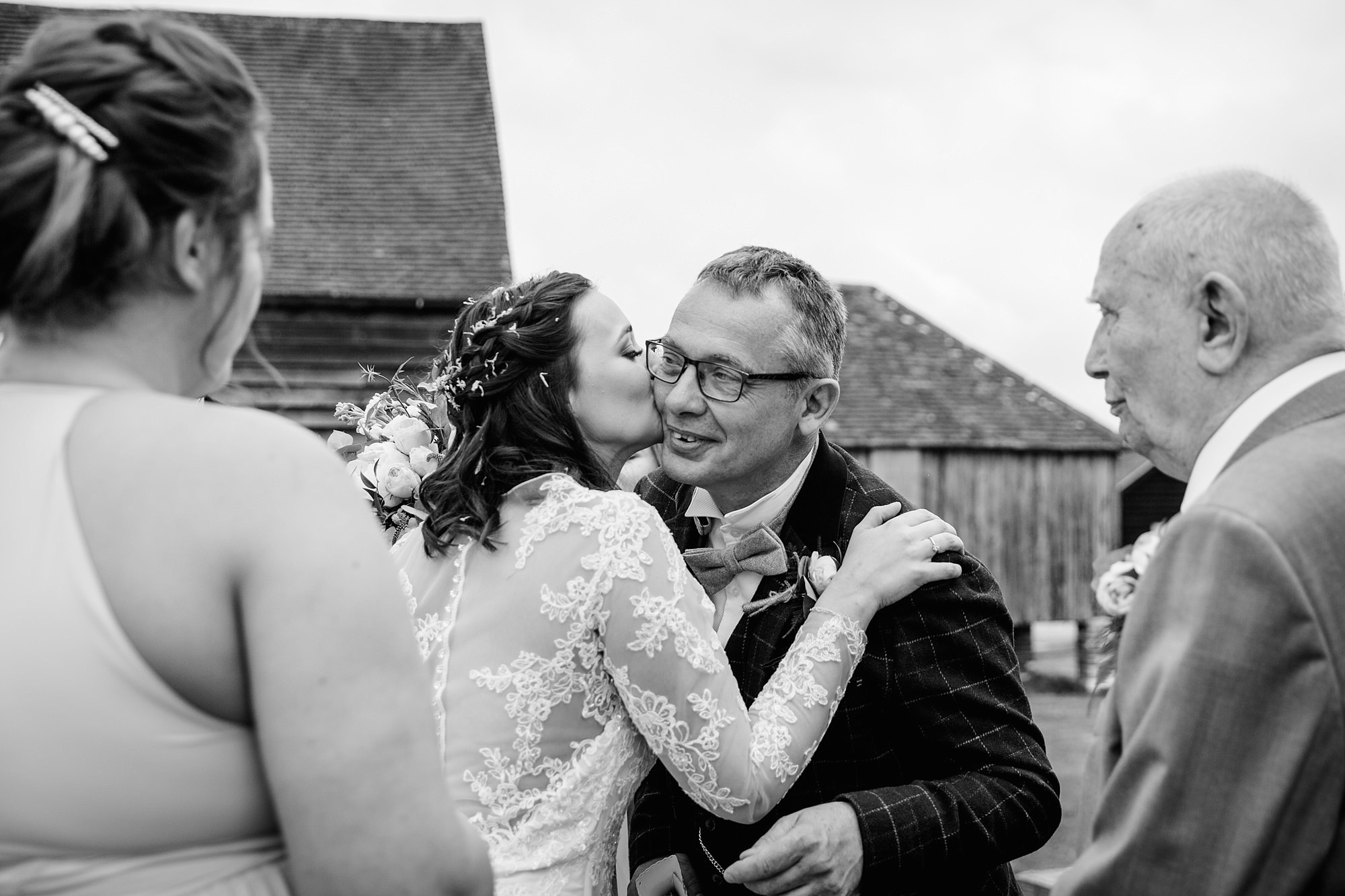 humanist wedding old greens barn bride gtrrting father after ceremony