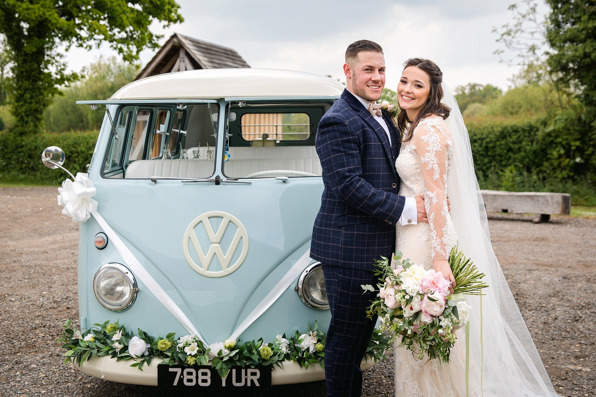 humanist wedding old greens barn bride and groom with VW camper