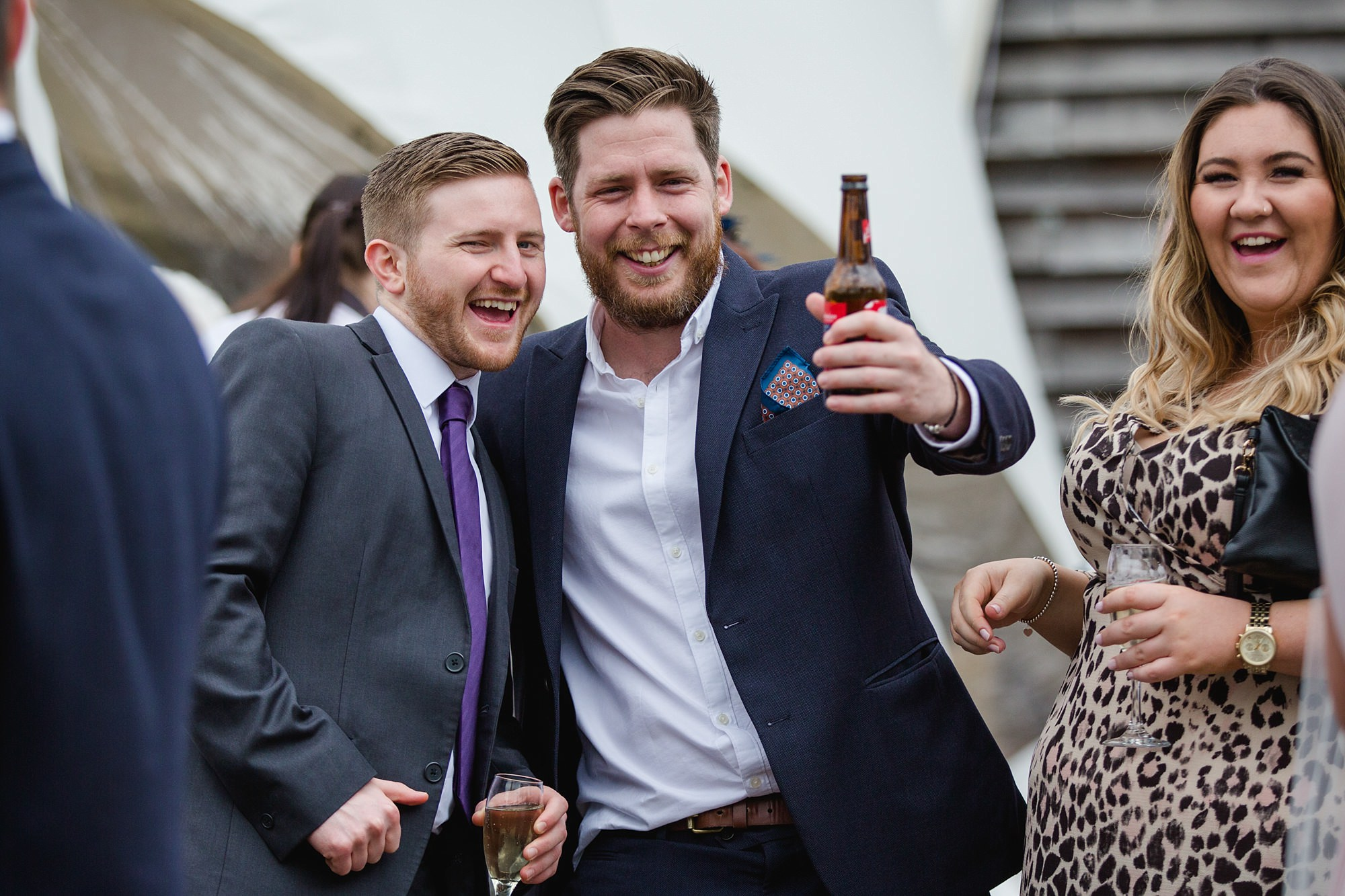 fun portrait of guests during reception at old greens barn newdigate