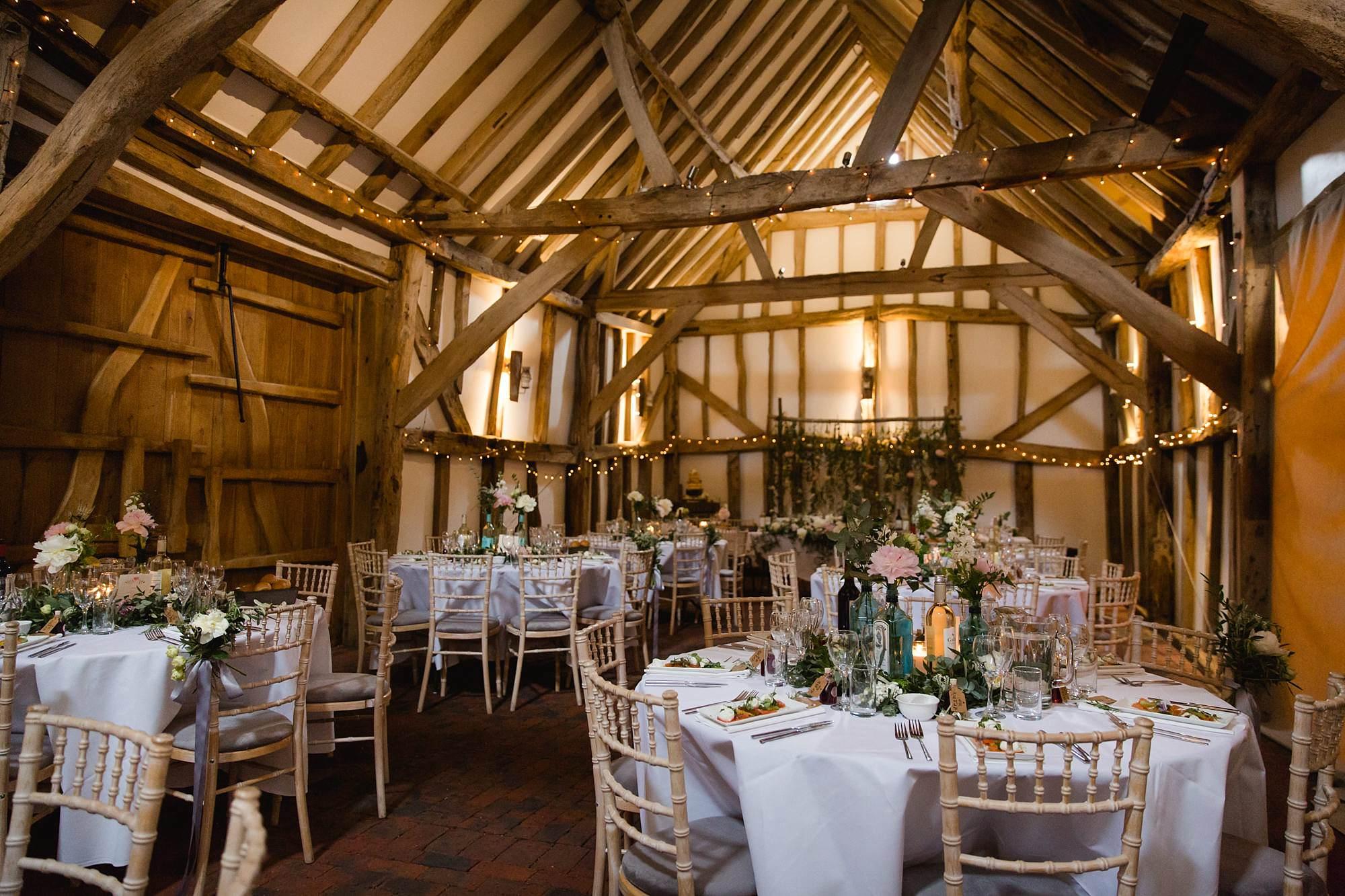 humanist wedding old greens barn setup for wedding breakfast