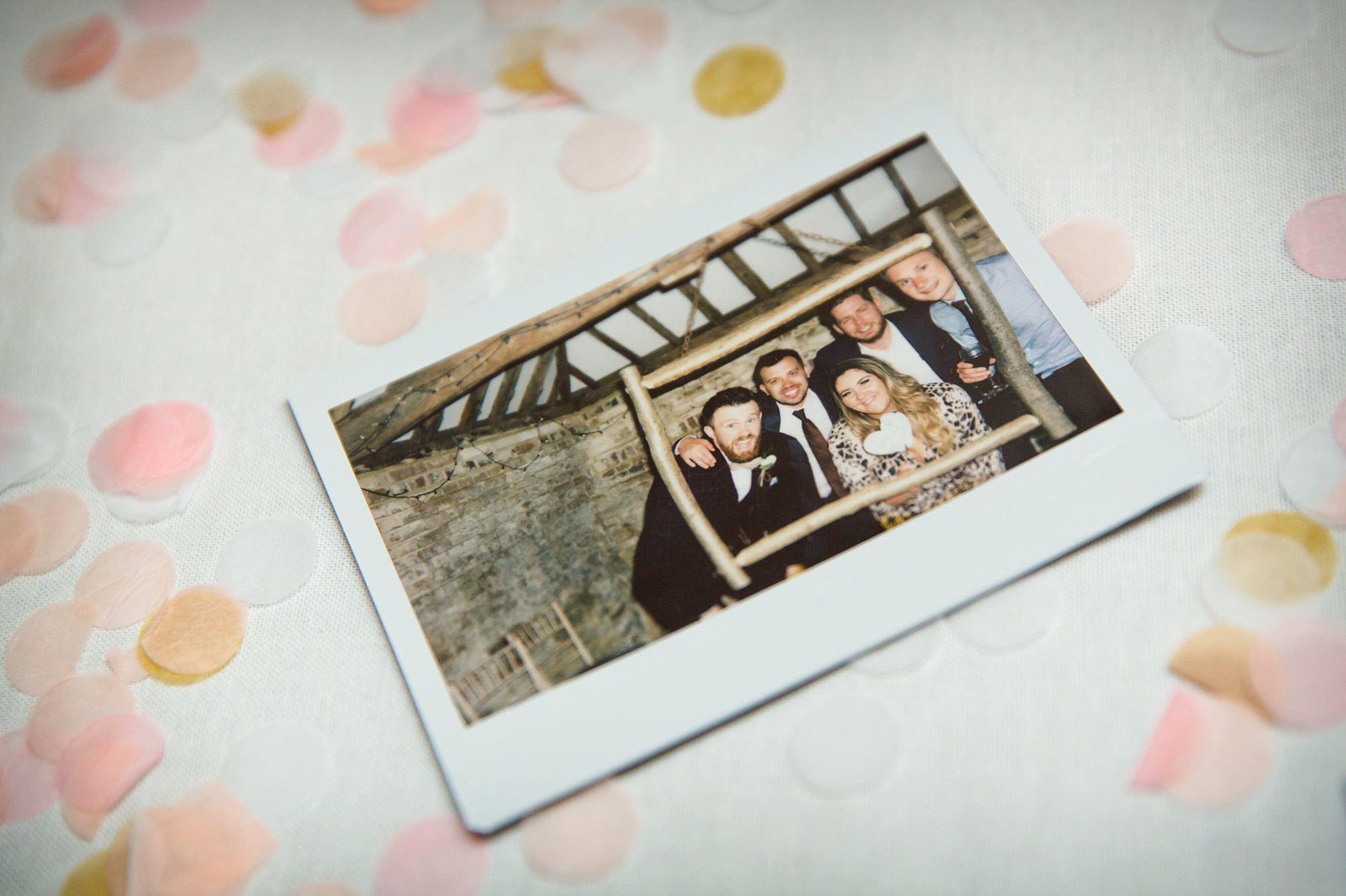 wedding polaroid at old greens barn humanist wedding