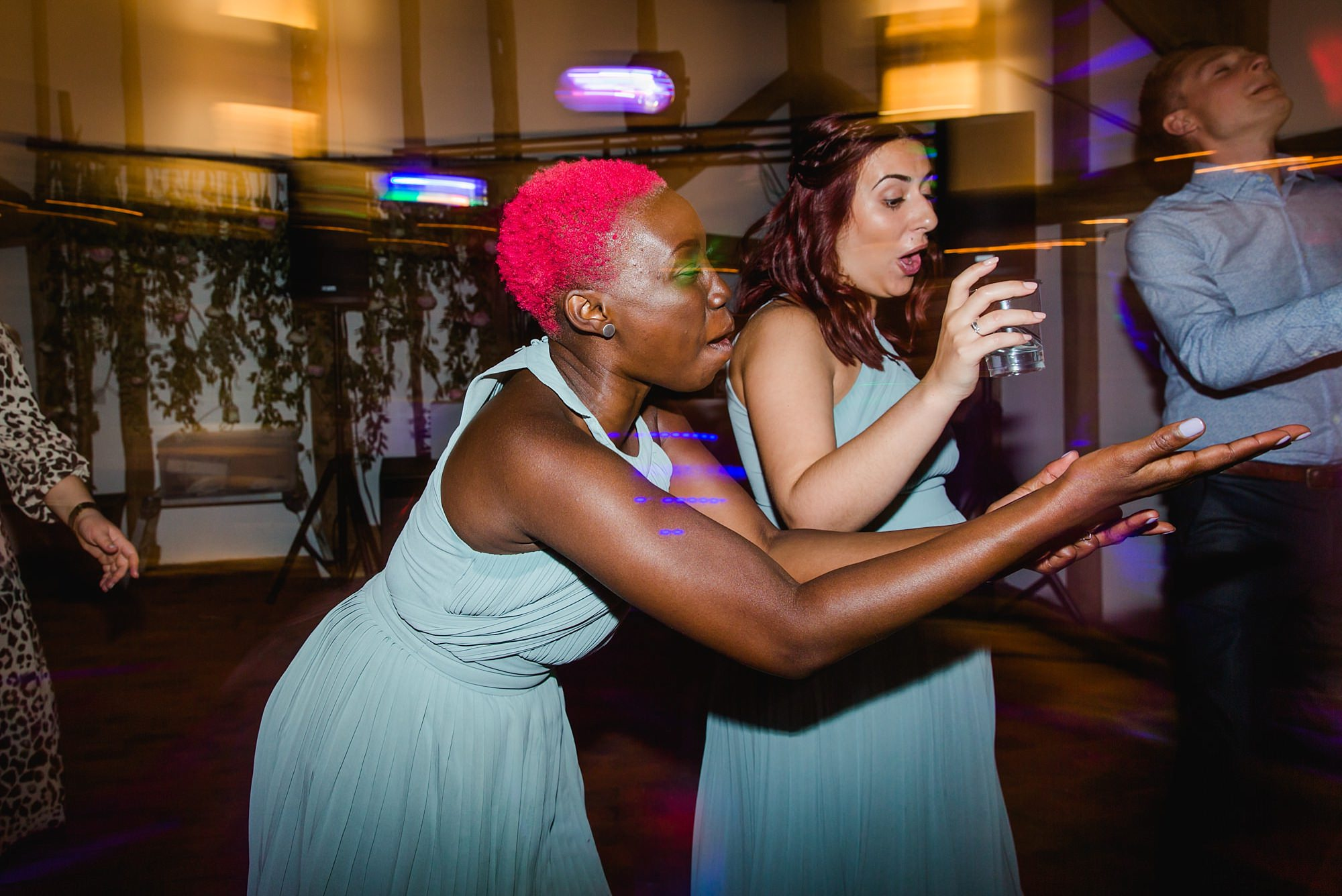 bridesmaids on dance floor told greens barn wedding
