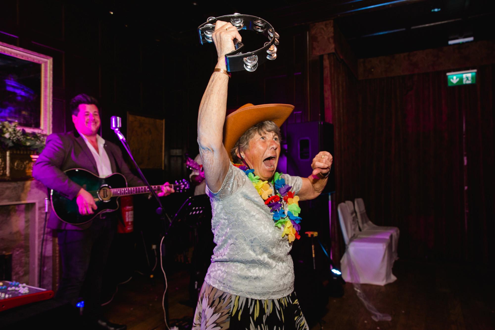 Fun nan dancing at a wedding